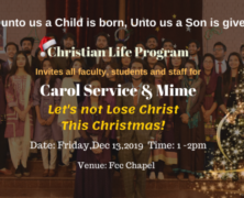 CLP to hold Christmas Carol Service & Mime