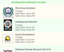 Schedule for Societies Elections 2018
