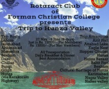 Register for Rotaract Club's trip to Hunza Valley