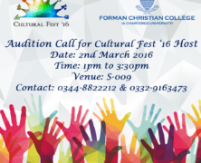 Audition call for Cultural Festival '16