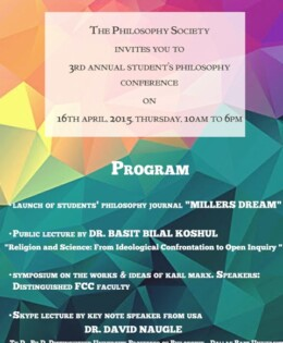 Philosophy Society to hold 3rd Annual Students' Philosophy Conference