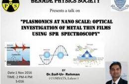 BPS presents a talk on Plasmonics at Nano Scale: Optical investigation of thin films using SPR Spectroscopy