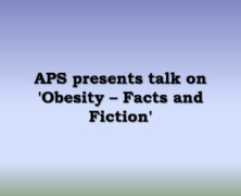 APS to hold talk on 'Obesity – Facts and Fiction'