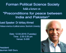 FPSS to hold a lecture on Preconditions for Peace Between India and Pakistan