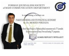 FJS to hold lecture by Dr Moeed Pirzada