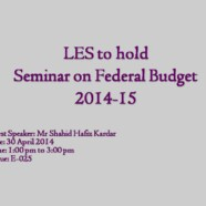 LES to hold Seminar on Federal Budget 2014-15