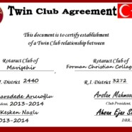 FCC Rotaract Club signs Twin Club Agreement with Rotaract Club of Mavisehir